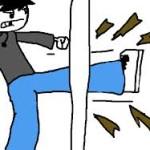 kicking door